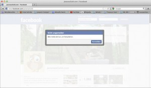 Facebook sperrt nicht eingeloggte User aus. Eindruck, man muss sich anmelden entsteht.