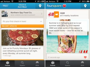 Neuer foursquare Stream mit Brand Postings