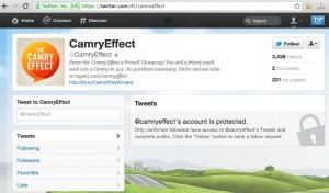 """Camry Account auf """"privat"""" gesetzt"""